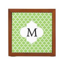 Personalized Monogram Quatrefoil green and White Pencil/Pen Holder