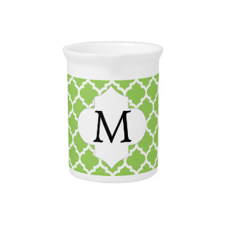 Personalized Monogram Quatrefoil green and White Pitchers