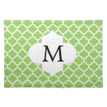 Personalized Monogram Quatrefoil green and White Placemat