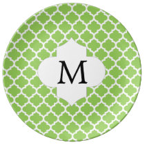 Personalized Monogram Quatrefoil green and White Plate