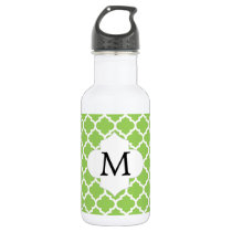 Personalized Monogram Quatrefoil green and White Stainless Steel Water Bottle