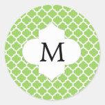 Personalized Monogram Quatrefoil green and White Round Stickers
