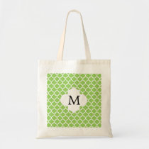 Personalized Monogram Quatrefoil green and White Tote Bag