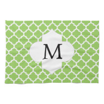 Personalized Monogram Quatrefoil green and White Towels