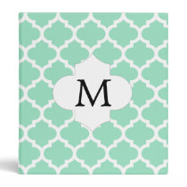 Personalized Monogram Quatrefoil Mint and White 3 Ring Binder