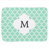 Personalized Monogram Quatrefoil Mint and White Baby Blanket