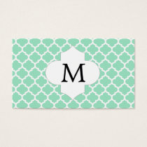 Personalized Monogram Quatrefoil Mint and White Business Card