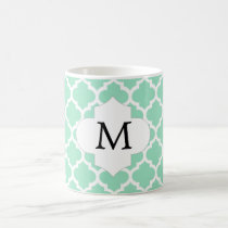 Personalized Monogram Quatrefoil Mint and White Coffee Mug