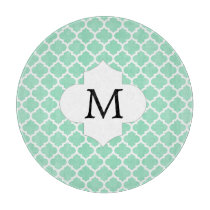 Personalized Monogram Quatrefoil Mint and White Cutting Board