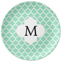 Personalized Monogram Quatrefoil Mint and White Dinner Plate