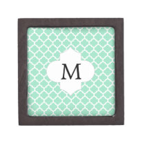 Personalized Monogram Quatrefoil Mint and White Jewelry Box