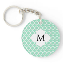 Personalized Monogram Quatrefoil Mint and White Keychain