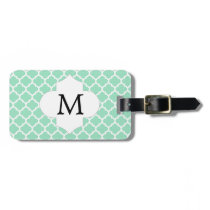 Personalized Monogram Quatrefoil Mint and White Luggage Tag