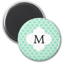 Personalized Monogram Quatrefoil Mint and White Magnet