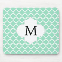 Personalized Monogram Quatrefoil Mint and White Mouse Pad
