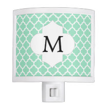 Personalized Monogram Quatrefoil Mint and White Night Light