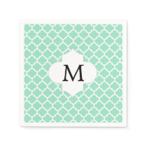 Personalized Monogram Quatrefoil Mint and White Paper Napkin