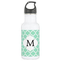 Personalized Monogram Quatrefoil Mint and White Stainless Steel Water Bottle