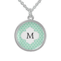 Personalized Monogram Quatrefoil Mint and White Sterling Silver Necklace