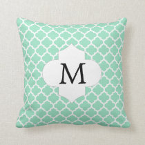 Personalized Monogram Quatrefoil Mint and White Throw Pillow