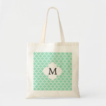 Personalized Monogram Quatrefoil Mint and White Tote Bag