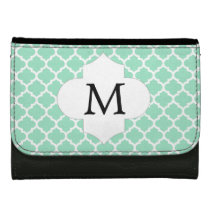 Personalized Monogram Quatrefoil Mint and White Wallet For Women