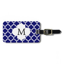 Personalized Monogram Quatrefoil Navy and White Bag Tag