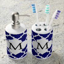 Personalized Monogram Quatrefoil Navy and White Bathroom Set