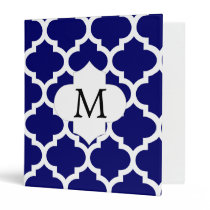Personalized Monogram Quatrefoil Navy and White Binder