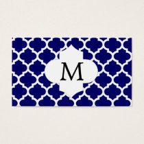 Personalized Monogram Quatrefoil Navy and White Business Card