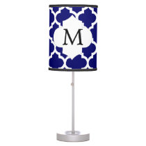 Personalized Monogram Quatrefoil Navy and White Desk Lamp