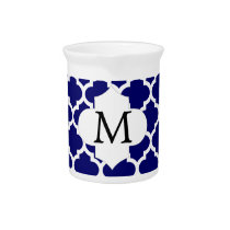 Personalized Monogram Quatrefoil Navy and White Drink Pitcher