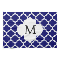 Personalized Monogram Quatrefoil Navy and White Hand Towel