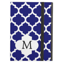 Personalized Monogram Quatrefoil Navy and White iPad Air Cover