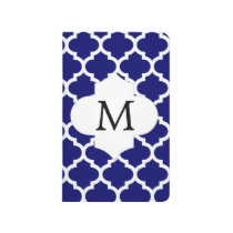 Personalized Monogram Quatrefoil Navy and White Journal