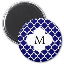 Personalized Monogram Quatrefoil Navy and White Magnet