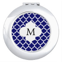 Personalized Monogram Quatrefoil Navy and White Makeup Mirror