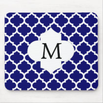 Personalized Monogram Quatrefoil Navy and White Mouse Pad