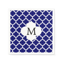 Personalized Monogram Quatrefoil Navy and White Napkin