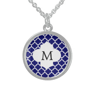 Personalized Monogram Quatrefoil Navy and White Sterling Silver Necklace