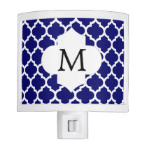 Personalized Monogram Quatrefoil Navy and White Night Light