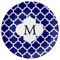 Personalized Monogram Quatrefoil Navy and White Plate