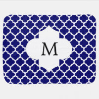 Personalized Monogram Quatrefoil Navy and White Receiving Blanket