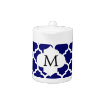 Personalized Monogram Quatrefoil Navy and White Teapot