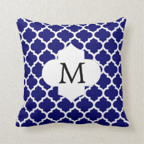 Personalized Monogram Quatrefoil Navy and White Throw Pillow