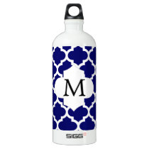 Personalized Monogram Quatrefoil Navy and White Water Bottle