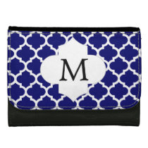 Personalized Monogram Quatrefoil Navy and White Women's Wallets