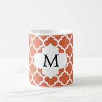 Personalized Monogram Quatrefoil orange and White Coffee Mug