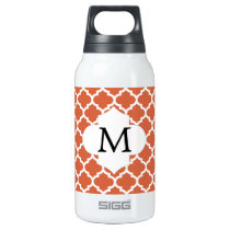 Personalized Monogram Quatrefoil orange and White Insulated Water Bottle