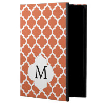 Personalized Monogram Quatrefoil orange and White iPad Air Case